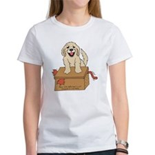 cat in box womens white t-shirt