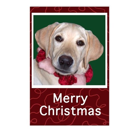 Yellow Labrador Puppy Christmas Postcards (8/pk)