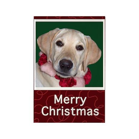 Yellow Labrador Puppy Christmas Magnet