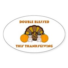 Double Blessed Thanksgiving Oval Decal