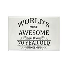 World's Most Awesome 70 Year Old Rectangle Magnet