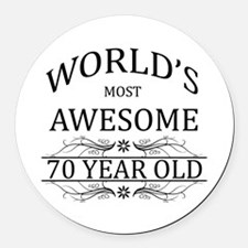 World's Most Awesome 70 Year Old Round Car Magnet