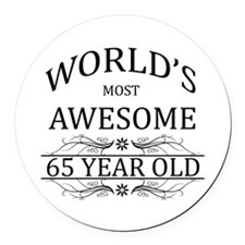 World's Most Awesome 65 Year Old Round Car Magnet