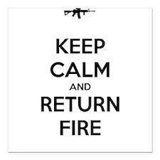 "Keep Calm and Return Fire Square Car Magnet 3"" x 3"