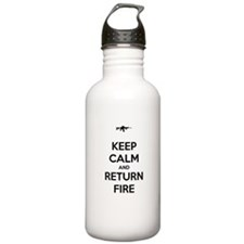 Keep Calm and Return Fire Sports Water Bottle