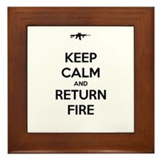 Keep Calm and Return Fire Framed Tile