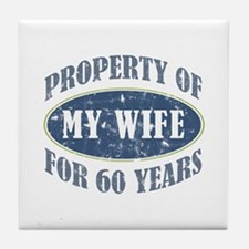 Funny 60th Anniversary Tile Coaster