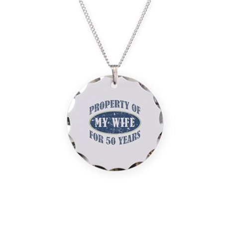 Funny 50th Anniversary Necklace Circle Charm