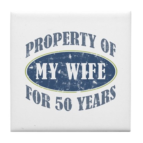 Funny 50th Anniversary Tile Coaster