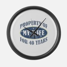 Funny 40th Anniversary Large Wall Clock
