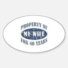Funny 40th Anniversary Sticker (Oval)