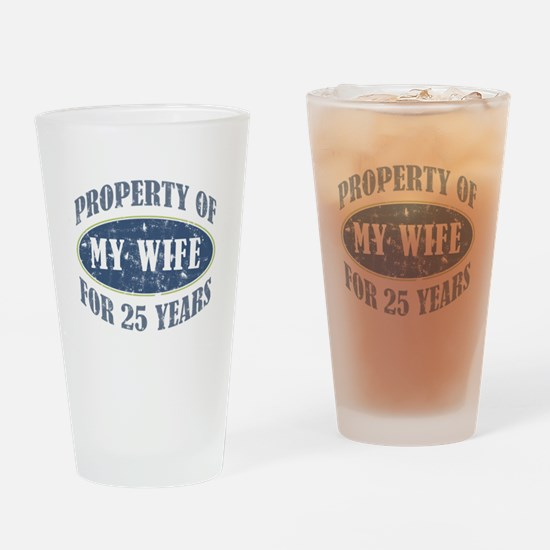 Funny 25th Anniversary Drinking Glass