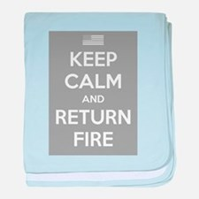 Keep Calm and Return Fire baby blanket