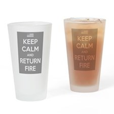 Keep Calm and Return Fire Drinking Glass