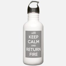 Keep Calm and Return Fire Water Bottle