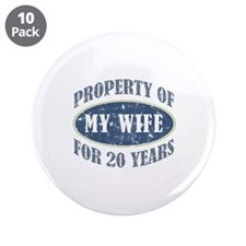 "Funny 20th Anniversary 3.5"" Button (10 pack)"