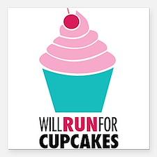 "Cupcake RUnner Square Car Magnet 3"" x 3"""