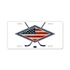 USA Hockey Flag Logo Aluminum License Plate