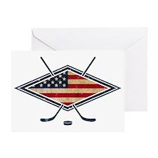 USA Hockey Flag Logo Greeting Card