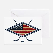 USA Hockey Flag Logo Greeting Card