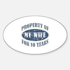 Funny 10th Anniversary Sticker (Oval)