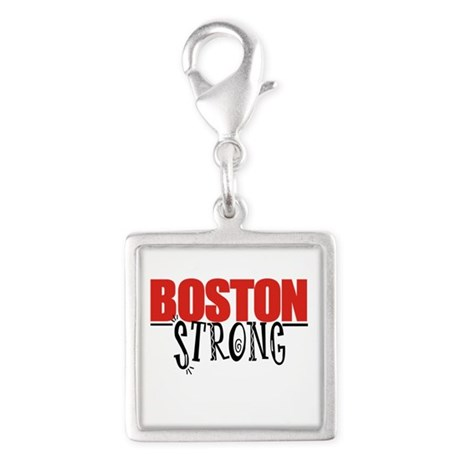 Boston Strong Silver Square Charm