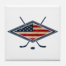USA Hockey Flag Logo Tile Coaster