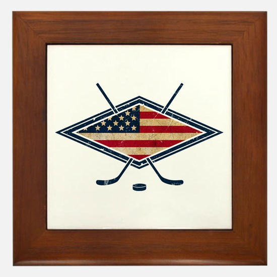 USA Hockey Flag Logo Framed Tile