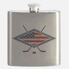 USA Hockey Flag Logo Flask