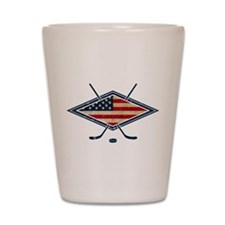 USA Hockey Flag Logo Shot Glass
