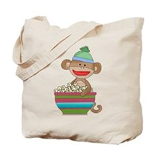 Sock monkey with popcorn Tote Bag