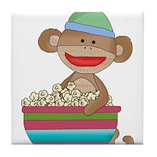 Sock monkey with popcorn Tile Coaster