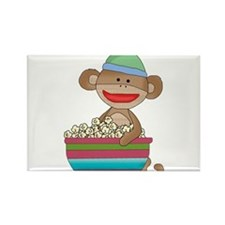 Sock monkey with popcorn Rectangle Magnet