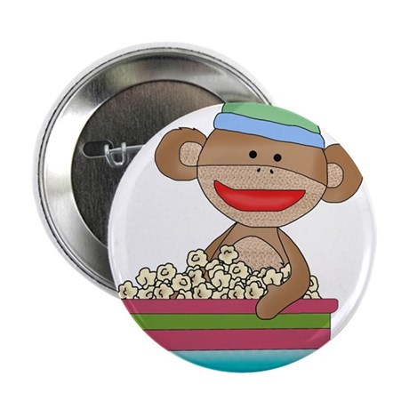 """Sock monkey with popcorn 2.25"""" Button"""