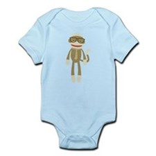 Sock monkey with Glasses Body Suit
