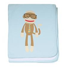 Sock monkey with Glasses baby blanket
