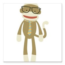 "Sock monkey with Glasses Square Car Magnet 3"" x 3"""