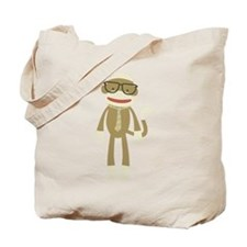 Sock monkey with Glasses Tote Bag