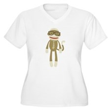 Sock monkey with Glasses Plus Size T-Shirt