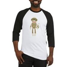 Sock monkey with Glasses Baseball Jersey