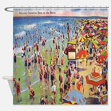 Vintage People Beach Seashore Shower Curtain