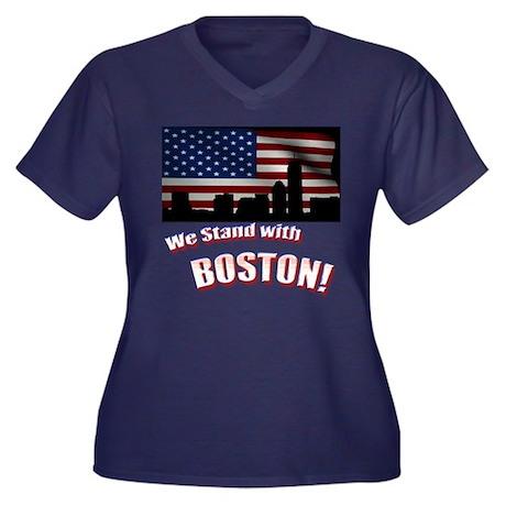 Ladies We Stand w/Boston Plus Size V-neck T-Shirt