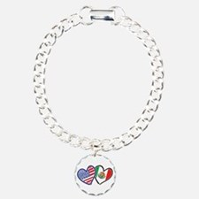 USA Mexico Heart Flag Bracelet