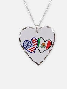 USA Mexico Heart Flag Necklace