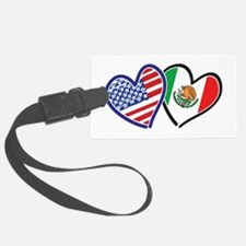 USA Mexico Heart Flag Luggage Tag