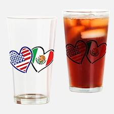 USA Mexico Heart Flag Drinking Glass