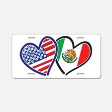 USA Mexico Heart Flag Aluminum License Plate