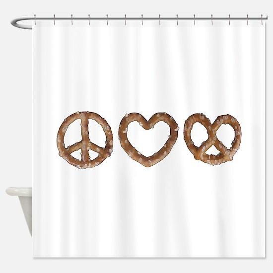 Peace Love Pretzel Shower Curtain