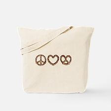Peace Love Pretzel Tote Bag