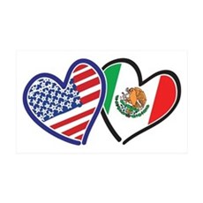USA Mexico Heart Flag Wall Decal